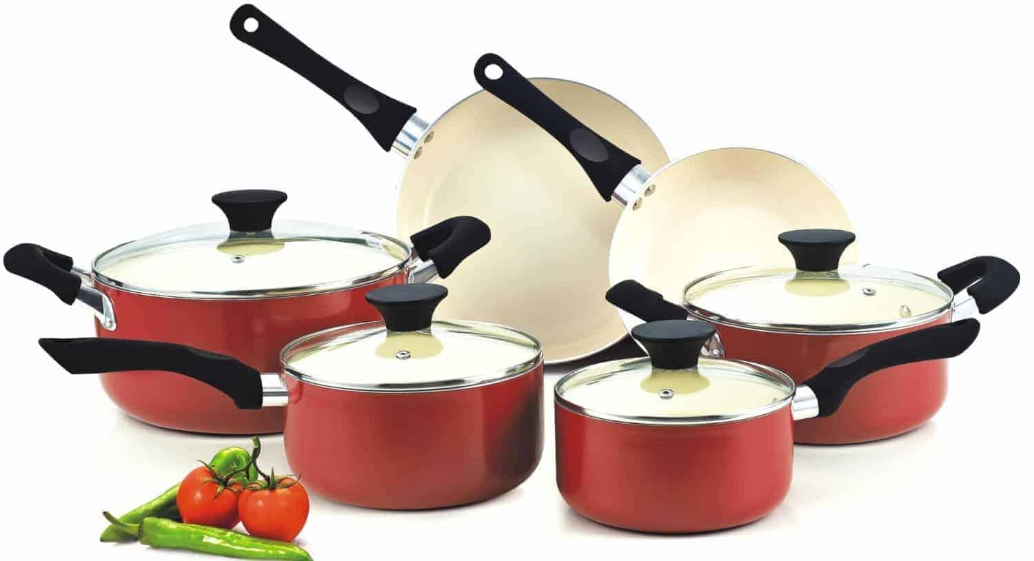 Cook N Home NC-00359 Non-stick Ceramic Coating 10-Piece Cookware Set